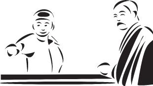 Lawyer talking to judge illustration