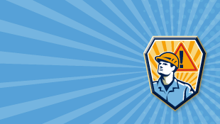 Construction worker retro illustration on blue background