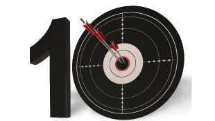 Ten with dart in the middle of zero
