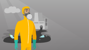 Illustration of man in chemical suit