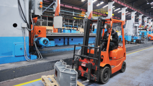 Forklift in manufacturing facility