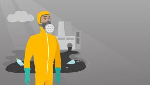Illustration man mask chemical spill
