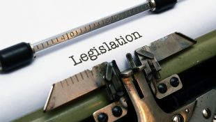 Legislation on paper in typewriter