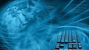 Globe and keyboard representing internet