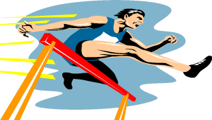 Athlete jumping over hurdle illustration