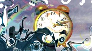 Postmodern art of clock in water