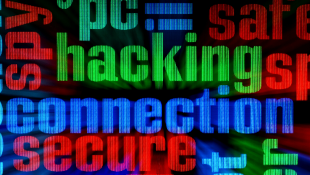 hacking connection secure words interlapping