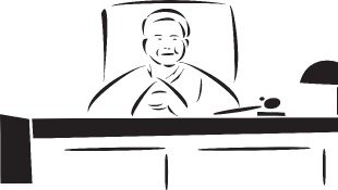 Judge sitting behind bench (illustration)