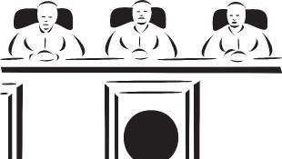 Illustration of three judges sitting behind bench