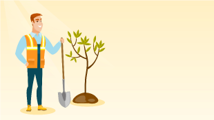 Illustration of man planting tree