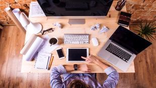 Businessman sitting over computer