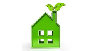 Green environmental house illustration