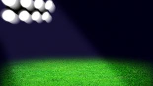 Stadium spotlight on grass