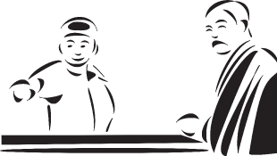 Illustration of witness and judge