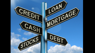 Signs with credit loan mortgage
