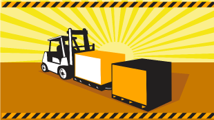 Illustration of forklift truck carrying materials