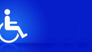 Disabled symbol on blue background