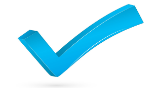 Blue large checkmark