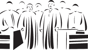 Illustration of lawyers behind bench