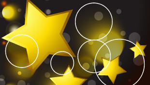 Gold stars and circles on black background