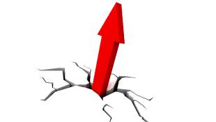 Red arrow breaking through ground illustration