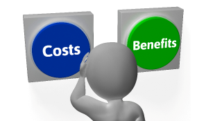 Costs and Benefits buttons figure scratching head