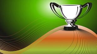 Trophy on Hilltop Green Background