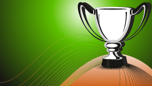 Trophy sitting on hill with green background (illustration)