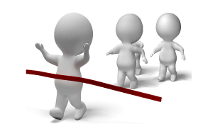 3d stick figures crossing finishing line