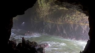 River running through cave