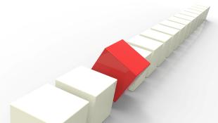 Red block amidst white blocks