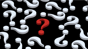 Black background with white question marks and red one in middle