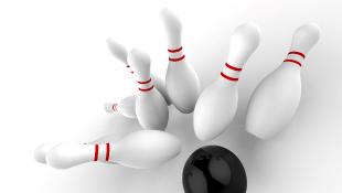 Striking bowling pins