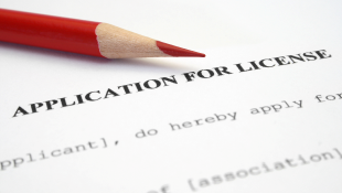 Red pencil on Application for license