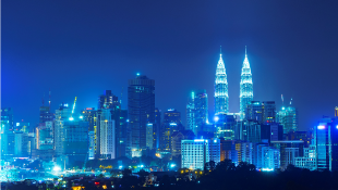 Urban skyline blue background