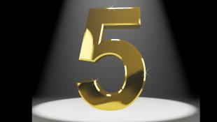 Gold five under spotlight
