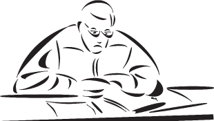 Illustration of judge sitting at court