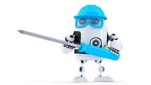 Robot holding a screwdriver