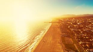 Santa Monica California aerial beach view