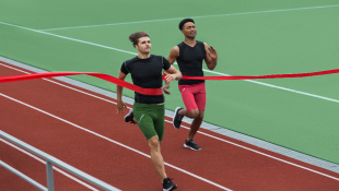 Two track runners crossing finish line