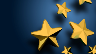 Gold stars on blue background