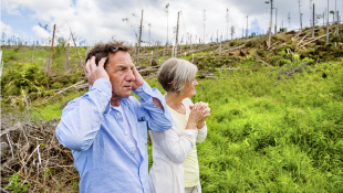 Senior couple at hurricane site