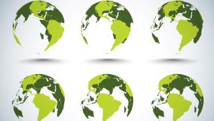 3 dimensional green globes