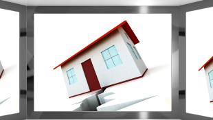 Illustration of house tilting over crack