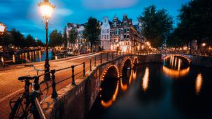 Night pedestrian bridge in amsterdam