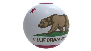 California flag on globe