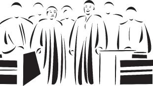 Judges standing behind bench