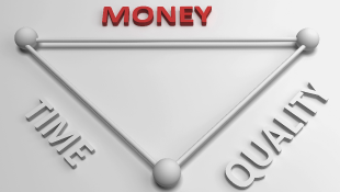 Money-Time-Quality Triangle with Money Highlighted