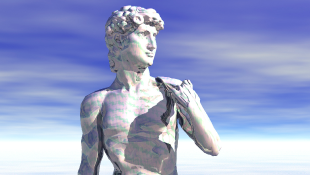 David statue on blue sky background