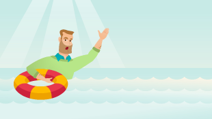 Businessman on life preserver (illustration)